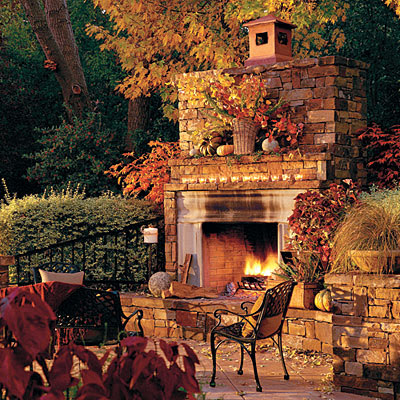 Autumn fireplace mantel inspirations french country for Outdoor room with fireplace