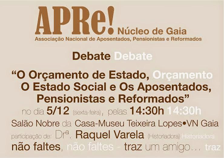 Gaia, debate sobre o Orçamento de Estado e o Estado Social