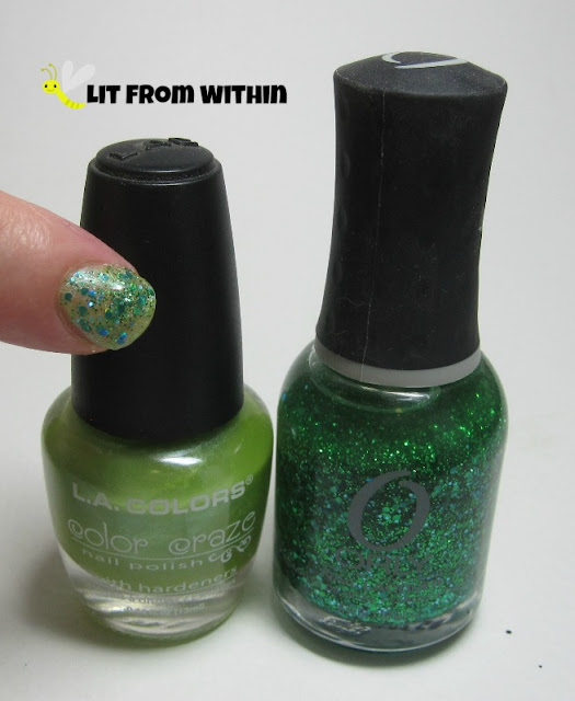 Bottle shot:  LA Colors unknown yellow-green shimmer, and Orly Mermaid.