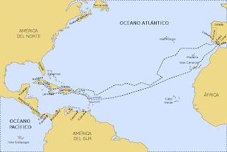 mapa segundo viaje de colon