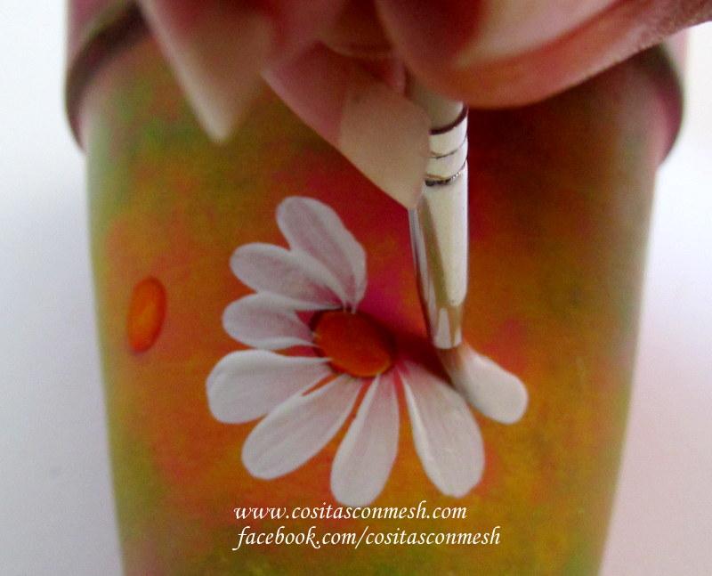 Flores pintadas en macetas paso a paso  cositasconmesh