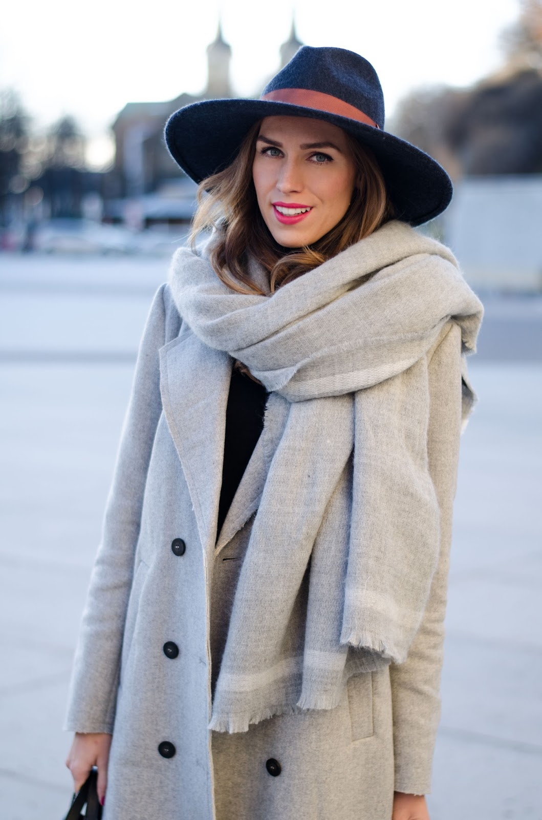 kristjaana mere winter fashion felt fedora long wool scarf gray coat