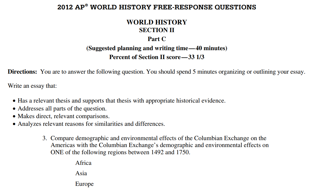2012 ap world multiple choice questions
