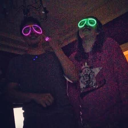 Jesse and Katrina with glowstick glasses