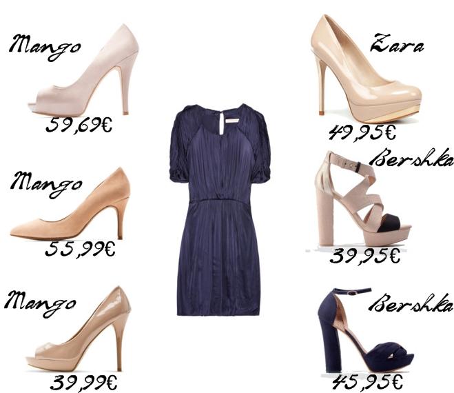 Color zapatos para vestido azul marino