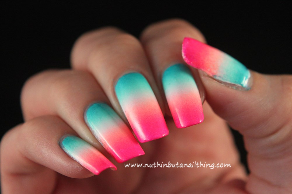 nuthin\' but a nail thing: Bright blue and pink gradient