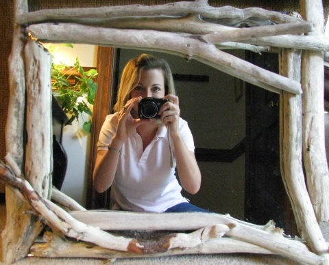 just like with shell frames there are many ways to embellish existing frames for this mirror frame the first layer of driftwood sticks were cut in half