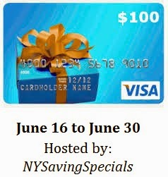 $100 Visa Gift Card Blogger Giveaway June 16 to June 30. Hosted by NYSavingSpecials