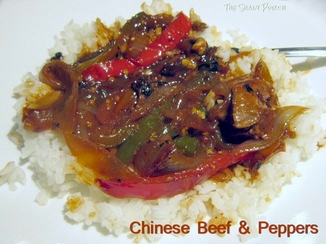 Chinese Beef & Peppers on a bed of rice