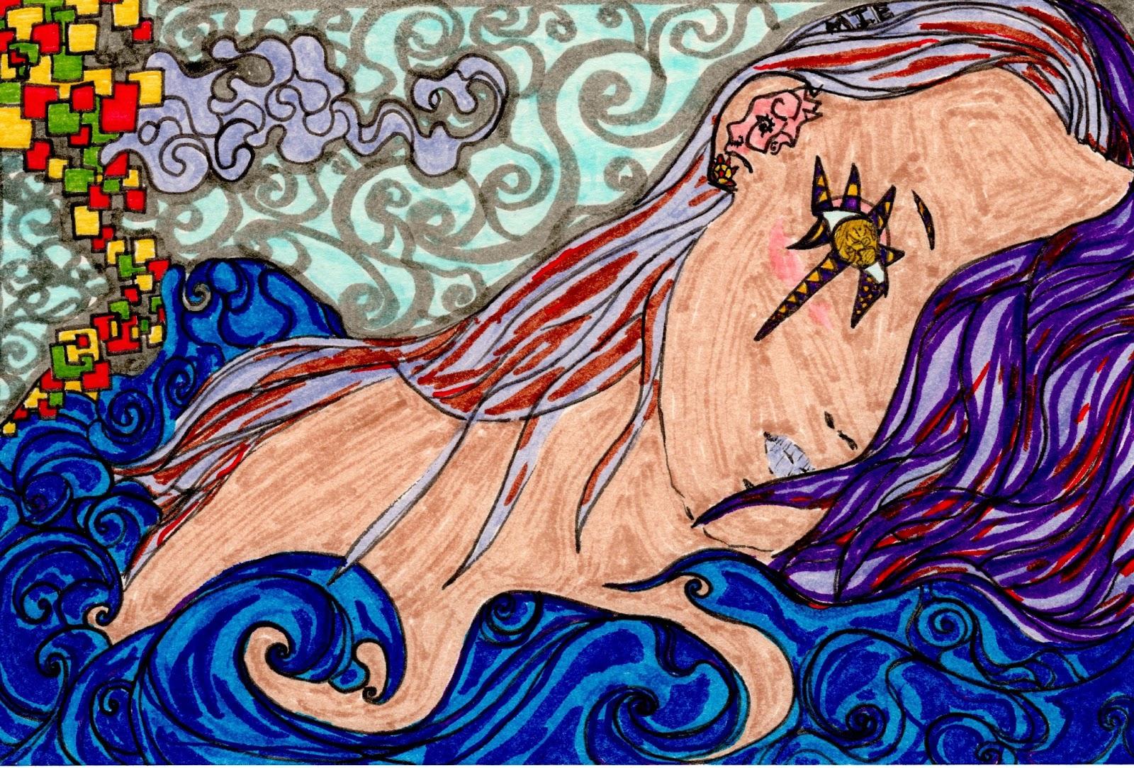横たわる少女は月を見てる / Girl lying is looking at the moon