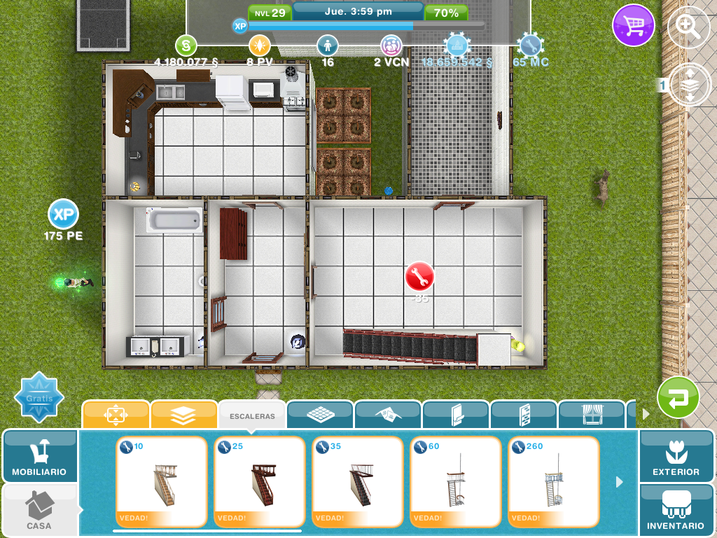 Ayuda c mo colocar la escalera for Casa de diseno sims freeplay