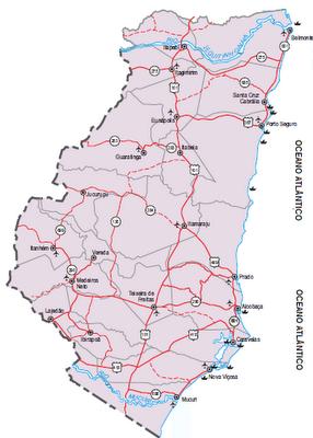 Nossa área de atuação no Extremo Sul da Bahia (30.647,236 Km²)