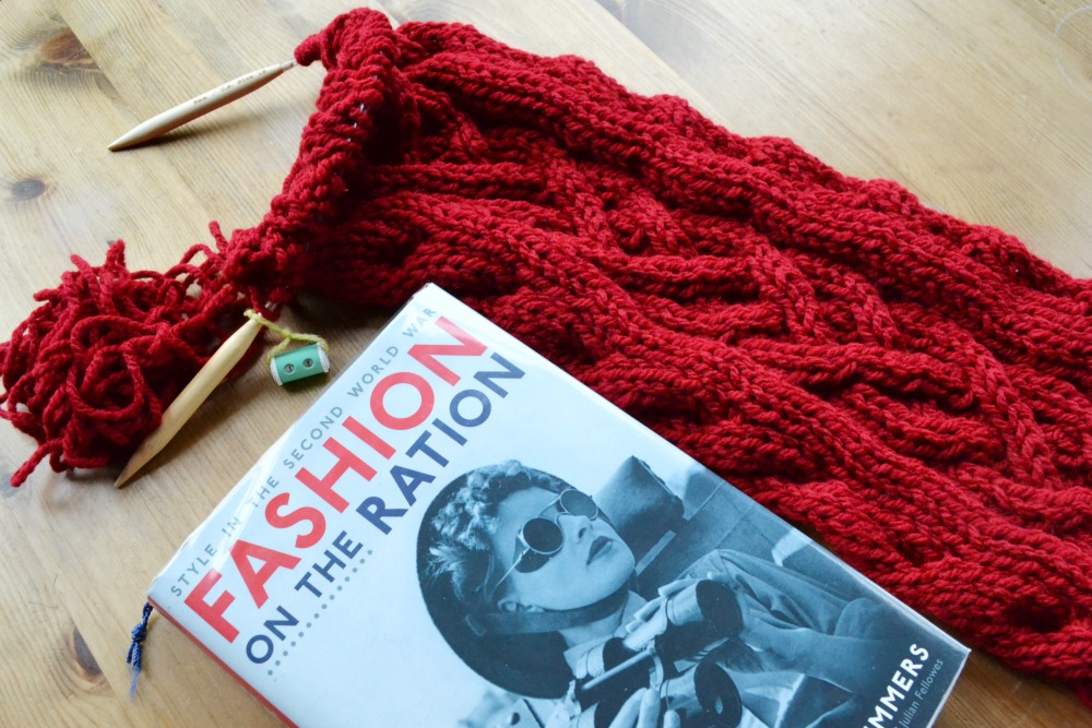 knitting reading cable scarf chorley wrap rowan pattern fashion on the ration world war two book library