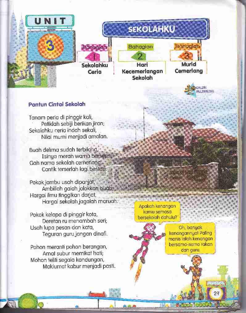pelajaran yang terkandung dalam sukatan pelajaran Bahasa Melayu Tahun