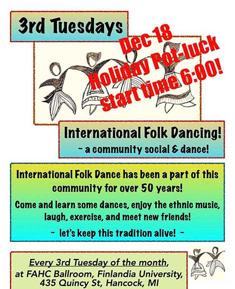 International Folkdance Holiday Potluck and dance Dec. 18