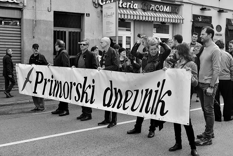 Lavoratori del Primorski Dnevnik durante il Primo maggio
