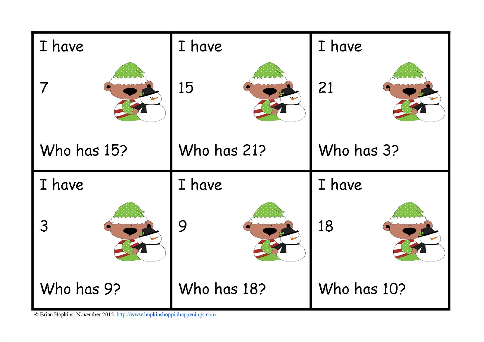 Christmas I Have Who Has Kindergarten Games