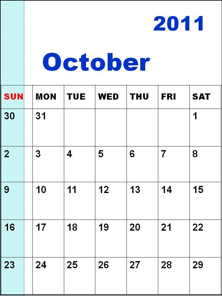 october 2011 calendar. BLANK CALENDAR OCTOBER 2011