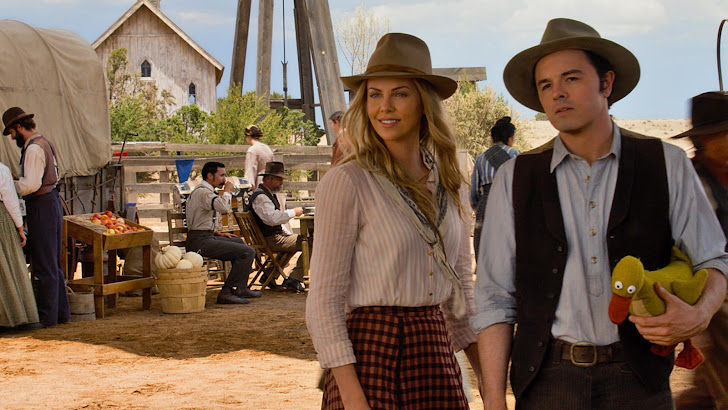 seth macfarlane as albert and charlize theron as anna in a million ways to die in the west