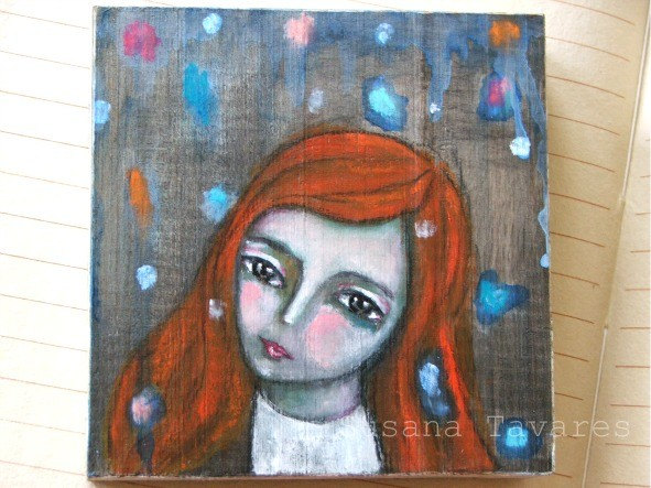 Magic is falling from the sky - Original painting on wood mixed media art  by Susana Tavares