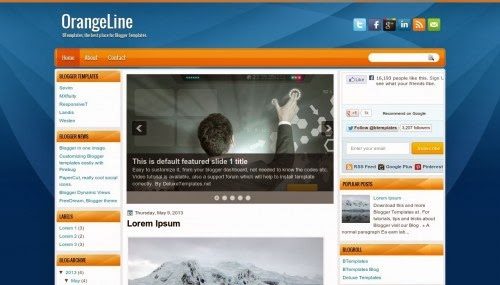 Orange line Template,blogger template,3 column template,free template