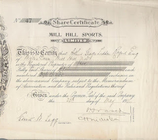 Share certificate of the Mill Hill Sports Limited
