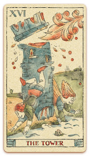 The Tower card - Colored illustration - In the spirit of the Marseille tarot - major arcana - design and illustration by Cesare Asaro - Curio & Co. (Curio and Co. OG - www.curioandco.com)