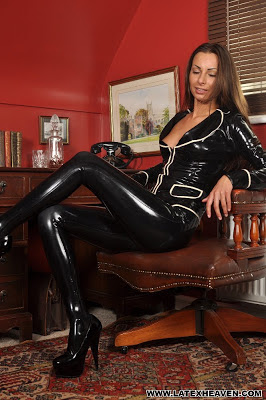 Black Latex Clad Babe Marta Tight Latex Leggings, Jacket and Heels