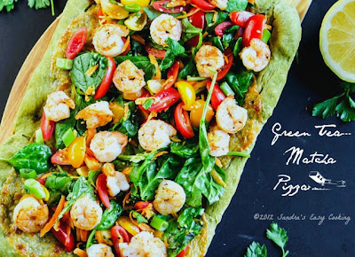 Homemade Flatbread Pizza made with Matcha {Green Tea Powder}