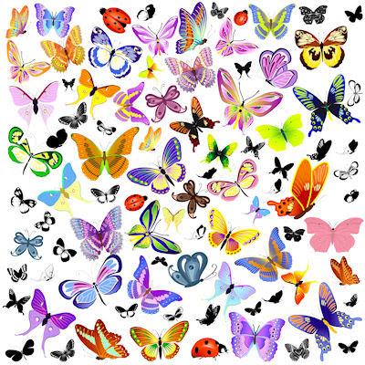 Banco de im genes ilustraci n con muchas mariposas de - Imagenes de mariposas de colores ...