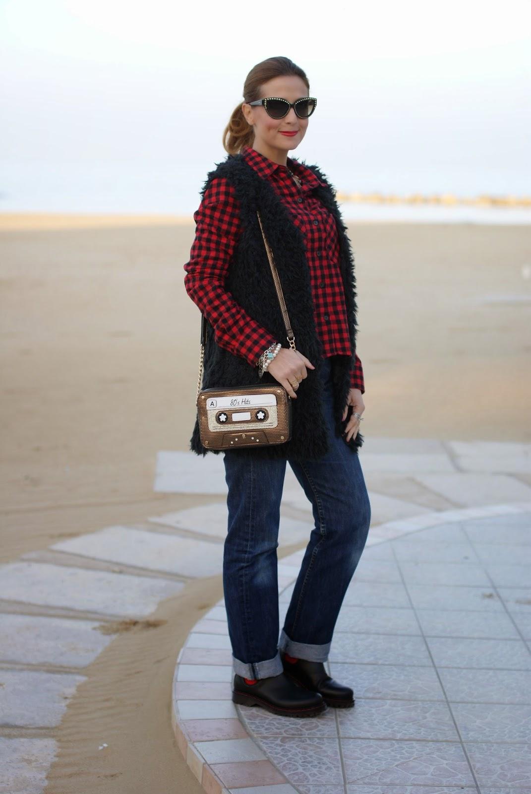 Buffalo plaid shirt, Moschino 30 year anniversary sunglasses, Fashion and Cookies, fashion blogger, chelsea boots