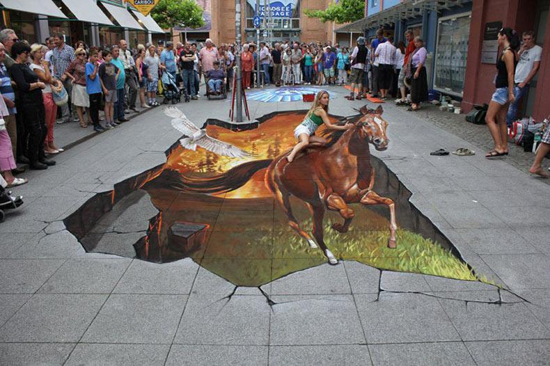 Pinturas en 3D sobre aceras por Nikolaj Arndt