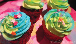Rainbow swirled buttercream iced cupcakes with sprinkles