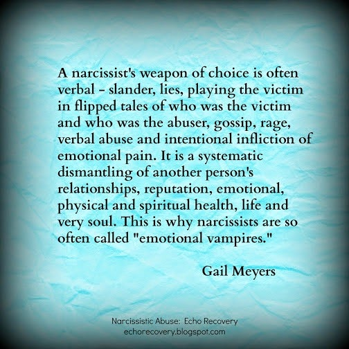 Narcissistic Mother's Smear Campaign quote by Gail Meyers