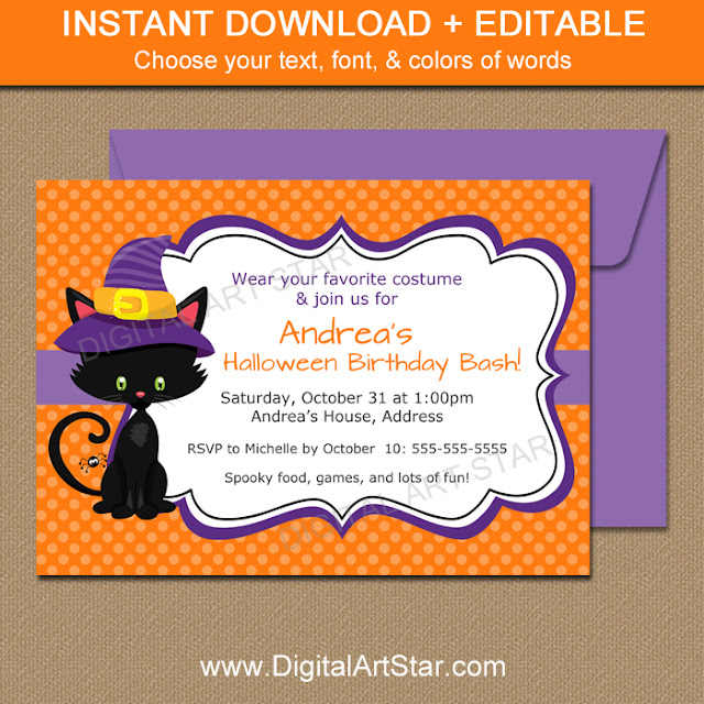 printable halloween cat birthday invitation with editable text in Adobe Reader