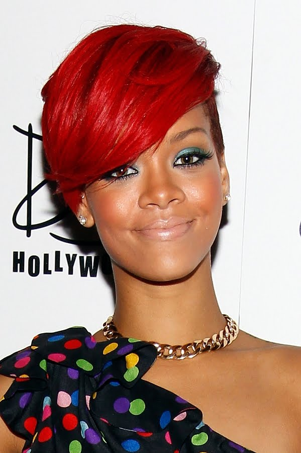 rihanna hair 2011 red. Rihanna Inspired Make up look