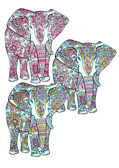 Three Elephants completely coloured