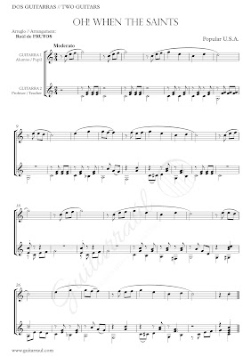 Oh When the Saints go Marching in Partitura para dos guitarra en Duo Easy Sheet Music for 2 guitars