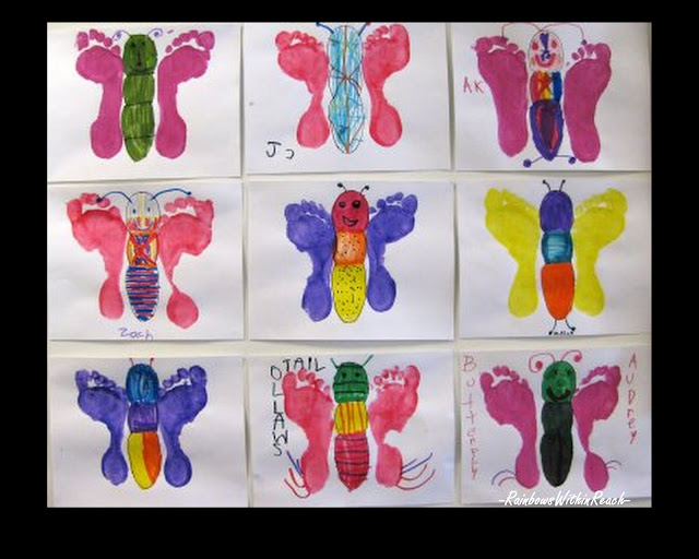 photo of: footprint paintings of butterflies, children's artwork for spring, bulletin board, preschool