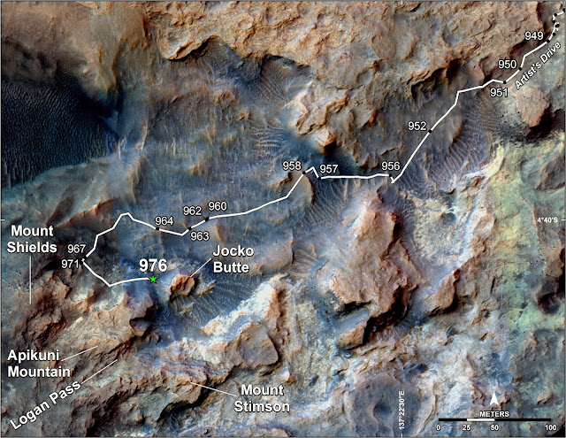 This map shows the route on lower Mount Sharp that NASA's Curiosity followed in April and early May 2015, in the context of the surrounding terrain. Numbers along the route identify the sol, or Martian day, on which it completed the drive reaching that point, as counted since its 2012 landing. Credits: NASA/JPL-Caltech/Univ. of Arizona