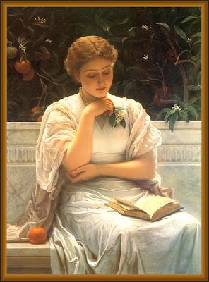 dama leyendo vintage