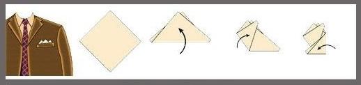 Как сложить платочек в карман пиджака с тремя углами?