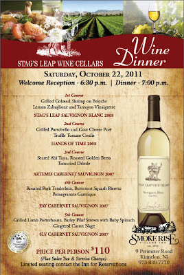 Stag's Leap Wine Dinner at Smoke Rise Inn, 10/22/11