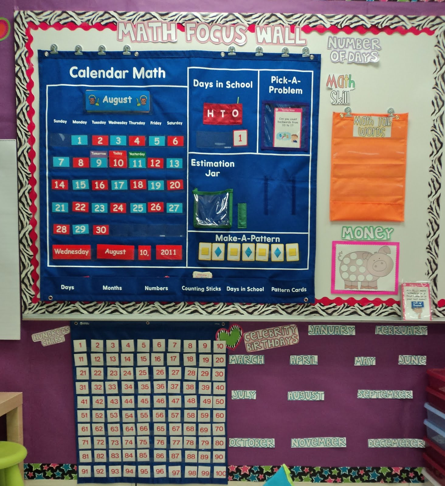 Math Focus Wall http://firstgradefresh.blogspot.com/2011/08/lets-give-them-something-to-talk-about.html