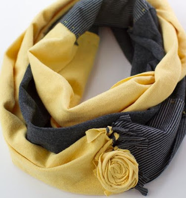 sewing, scarf with roses,  fabric flowers