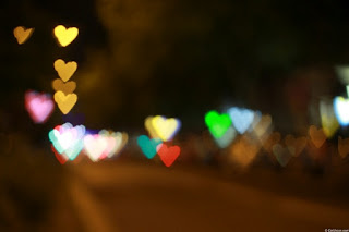 Bokeh effect hart shape