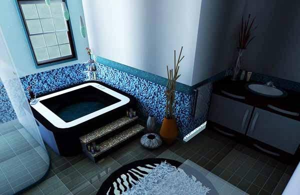 desain interior kamar mandi minimalis warna biru
