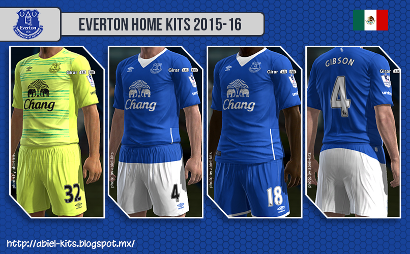 PES 2013 Everton GK/Home Kits 2015-16 by ABIEL