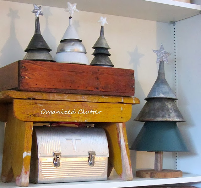 Rustic Funnel Christmas Trees www.organizedclutterqueen.blogspot.com
