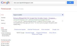terindex cepat dalam hitungan menit di google